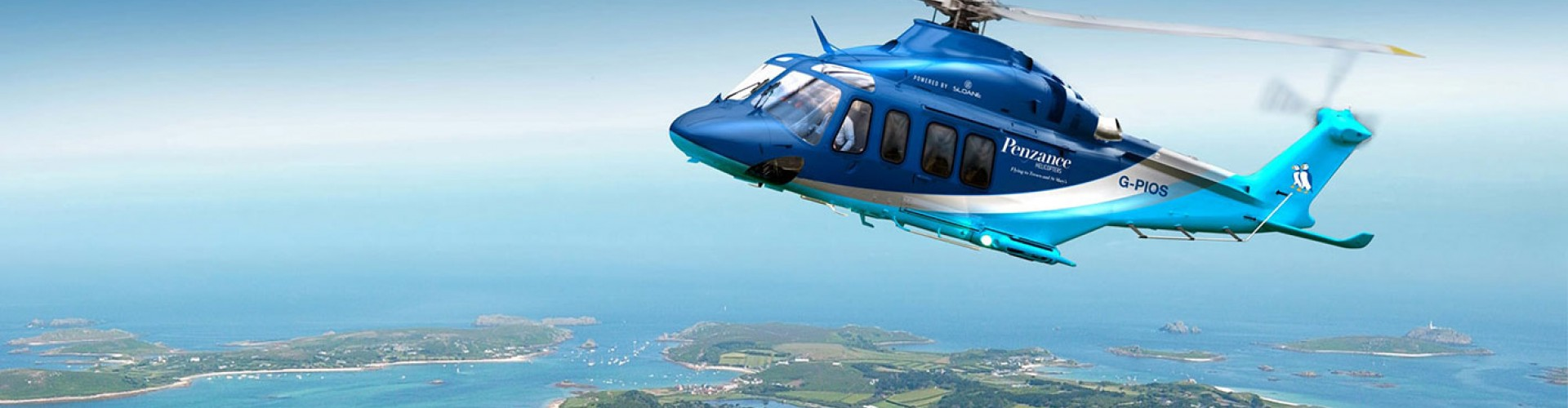 penzance helicopter over isles of scilly