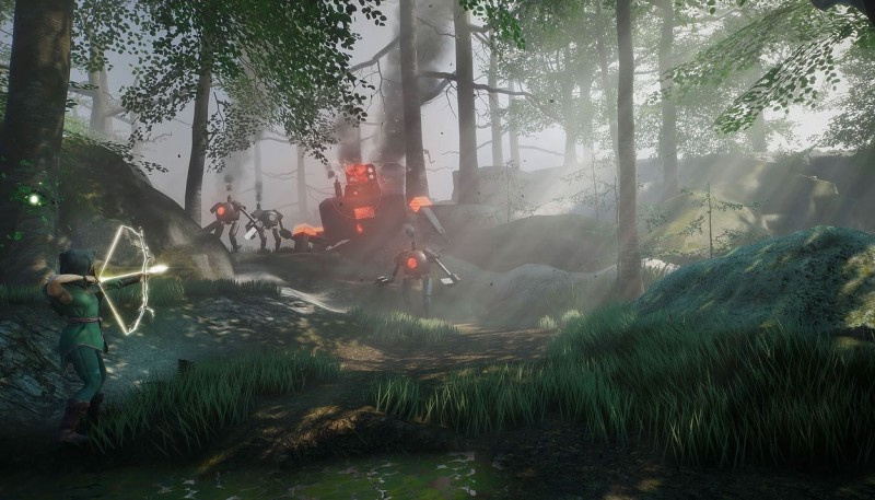 Screenshot from videogame Sai. Forest scene, with robots.