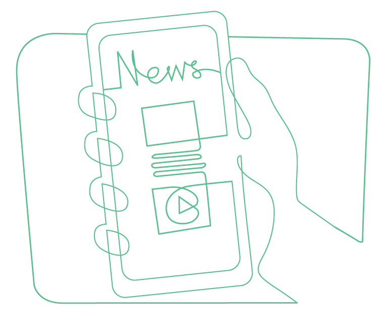 News on a mobile illustration