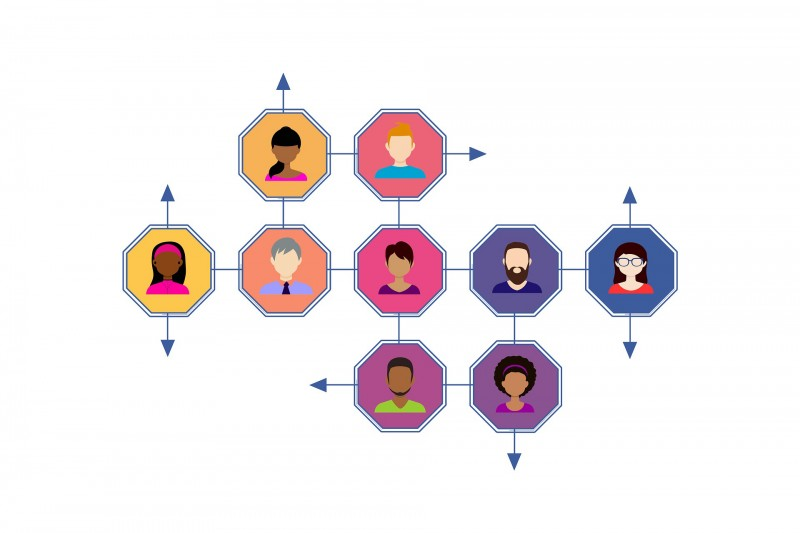 colourful diagram showing avatars networking