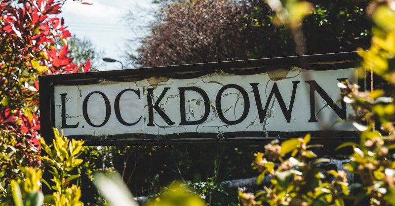 british street sign changed to say lockdown