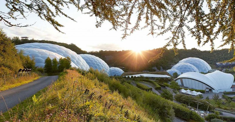 Eden Project biomes with sun shining low in the sky