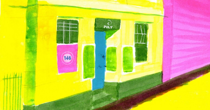 detail from colourful painting for The Poly Falmouth