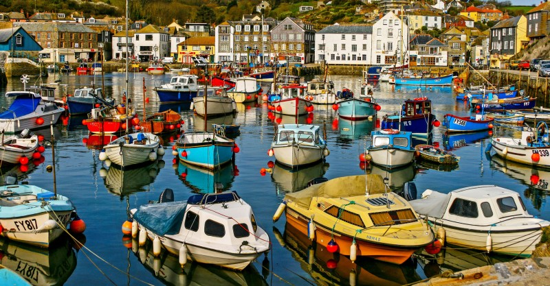 colourful fishing boats in Cornish port