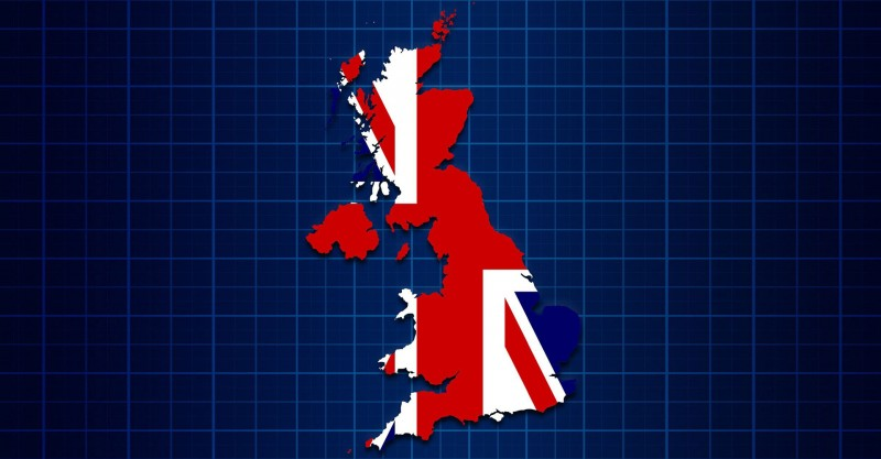 map of UK with union flag superimposed