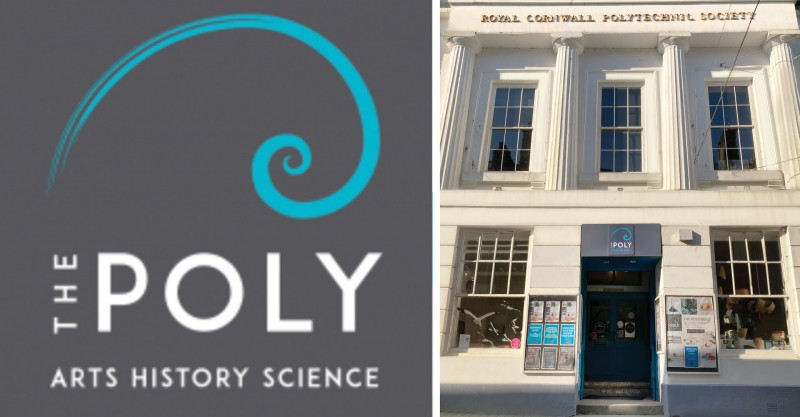 The Poly Falmouth building and logo