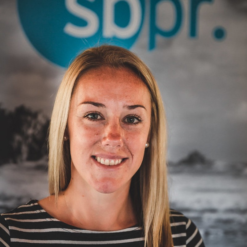 Rosie Bradbury with sbpr marketing in the background
